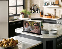 Hidden TV kitchen