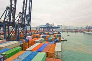 Asia port containers