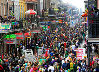 Crowds flood Bourbon Street