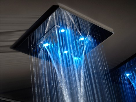 Featuring a hydro massage system and fixed or changing chromatherapy  lights the square shower heads from Gessi come in three different sizes including Tropical rain your bathroom